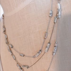 Kenneth Cole Silver  3 Chain White & Silver Beads